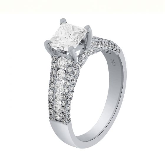 2.02 Ct. T.W. Diamond Ring In 18 Karat White Gold