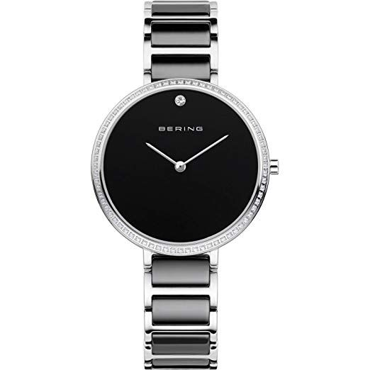 Bering Time 30534-742 Womens Black Ceramic Band Swarovski Crystal Watch