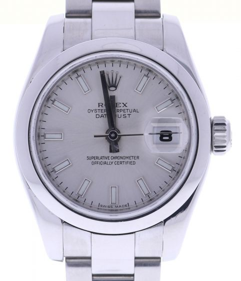 Rolex Lady DateJust 26 Stainless 179160 Oyster Silver Stick Dial Automatic Watch