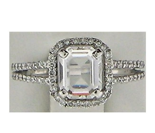 One CZ and 0.60ct Round Stone 18k WG Rings - 187763