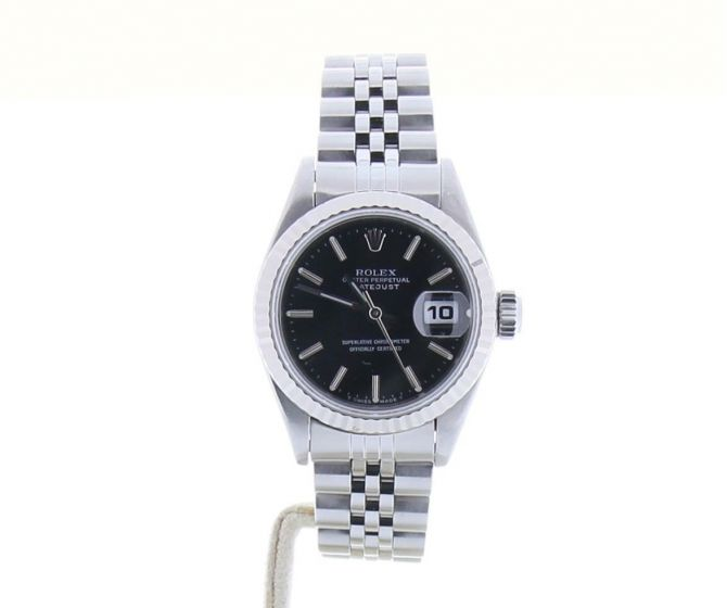 Rolex DateJust Stainless-steel 69174 Black Dial Womens 26-mm Automatic Watch