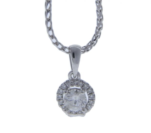 0.22 Ct. T.W. Diamond Diamond Pendant In 18 Karat White Gold