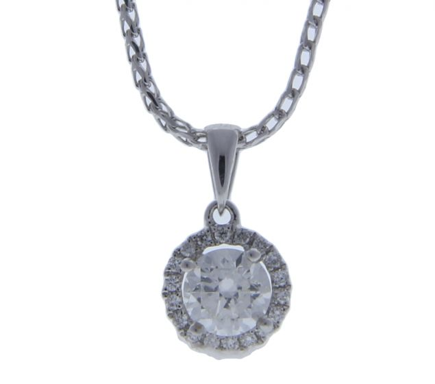 0.47 Ct. T.W. Diamond Diamond Pendant In 18 Karat White Gold