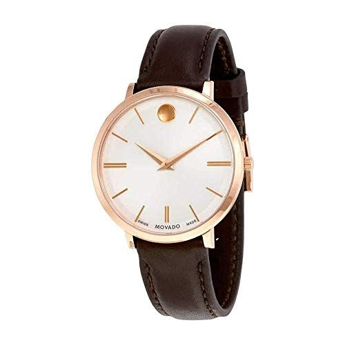 Movado Ultra Slim Rose Gold-tone Stainless Steel 0607093 Silver Dial Womens 35-m