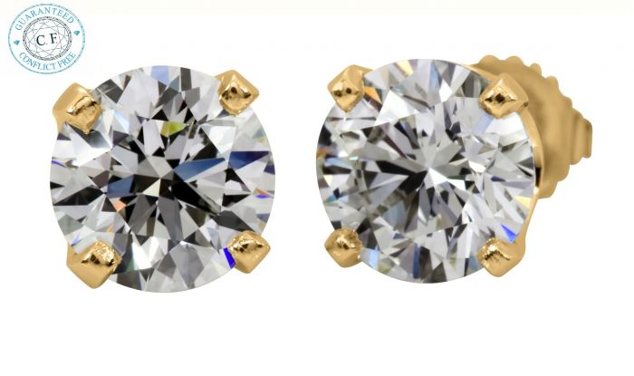 1.08 Ct. T.W. Diamond Studs In 14 Karat Yellow Gold-201695