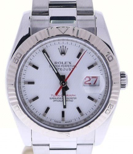 Rolex Turn-O-Graph DateJust 36 Steel-and-18k-gold 116264 White Dial Mens Watch