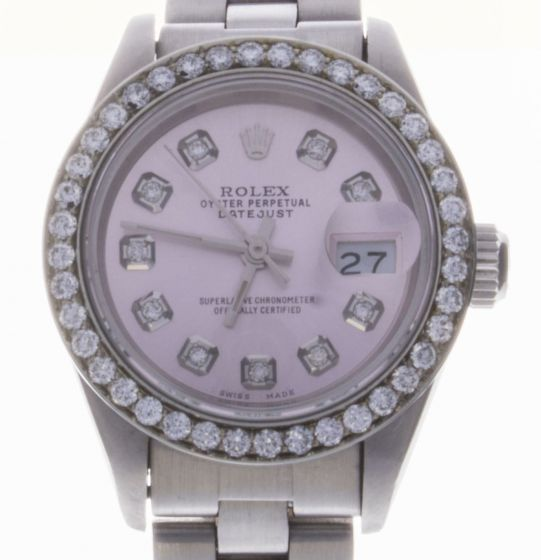 Rolex DateJust 26 Stainless-steel 69160 Pink Dial Womens 26-mm Automatic self-wind Sapphire crystal. Swiss Made Wrist Watch