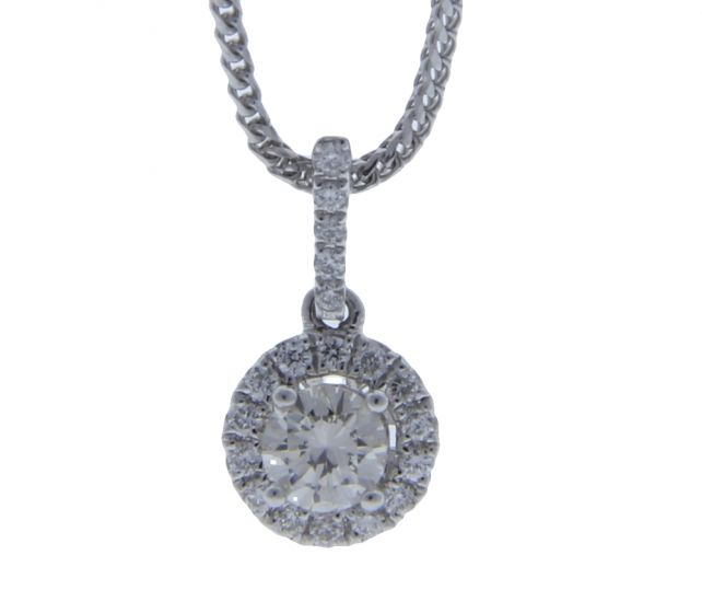 0.37 Ct. T.W. Diamond Diamond Pendant In 18 Karat White Gold