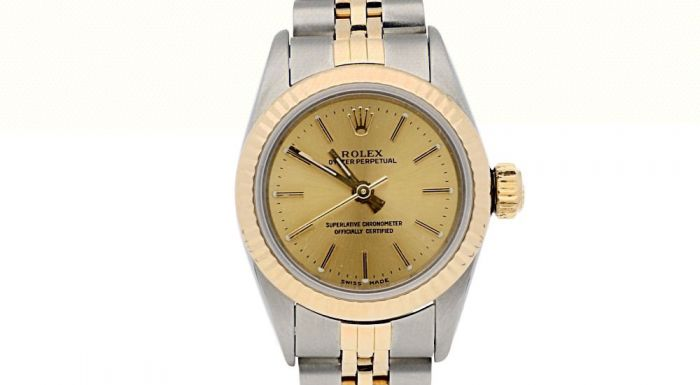 Rolex Lady Oyster Perpetual 18K/SS 67193 Gold Dial 26-mm Automatic Wrist Watch
