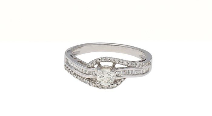 0.47Ct. T.W. Diamond Ring In 18 Karat White Gold
