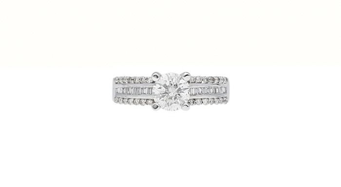1.2 Ct. T.W. Diamond Ring In 18 Karat White Gold