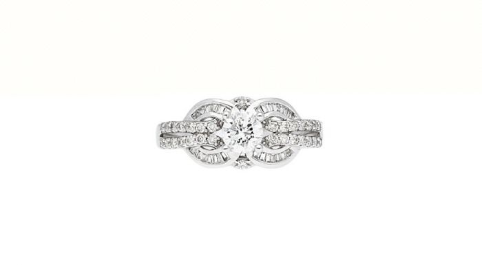 0.81Ct. T.W. Diamond Ring In 18 Karat White Gold