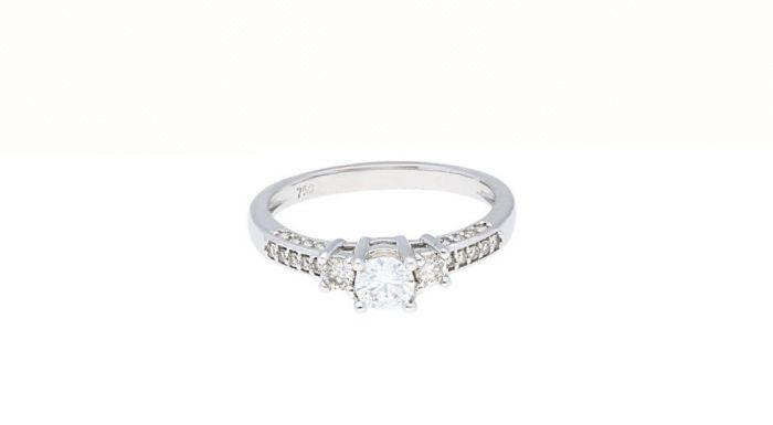 0.56 Ct. T.W. Diamond Ring In 18 Karat White Gold