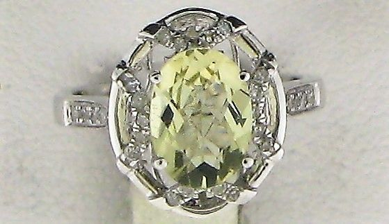2.25 ct. t.w.t Citrine & 0.21ct Diamond Cocktail stone Ring in 10k White Gold