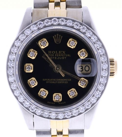 Rolex Lady DateJust 26 Steel-and-18k-gold 69173 Black Dial 26-mm Automatic Watch