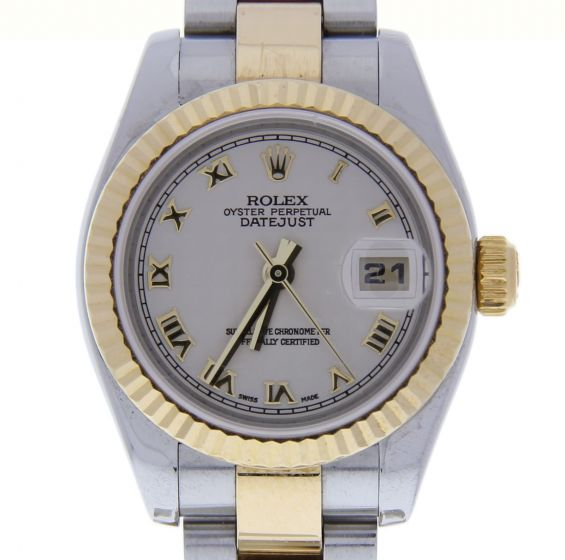 Rolex Lady DateJust 26 SS/18k-gold 179173 Ivory Dial Automatic Watch