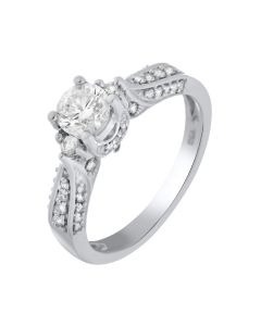 0.80 Ct. T.W. Diamond Ring In 18 Karat White Gold