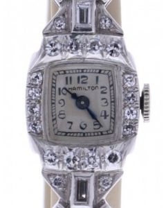 Hamilton Vintage Platinum 10602 Silver Dial Womens 26-mm Manual Sapphire crystal