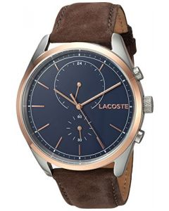 Lacoste Men's SAN Diego Stainless Steel Quartz Watch with Leather Strap, Brown, 22 (Model: 2010917)