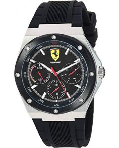 Ferrari Aspire, Quartz Stainless Steel and Silicone Strap Casual Watch, Black, Men, 830537
