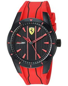 Ferrari Men's Redrev Quartz Watch with Silicone Strap, red, 26 (Model: 0830539)