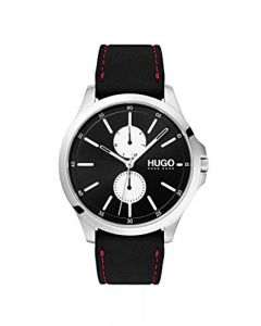 Hugo Men's #Jump Quartz Stainless Steel and Rubber Strap Casual Watch, Color: Black (Model: 1530001)