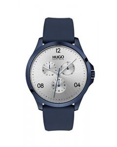 Hugo Men's #Risk Quartz Blue IP and Rubber Strap Casual Watch, Color: Silver (Model: 1530037)