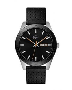 Lacoste Men's Legacy Stainless Steel Quartz Watch with Leather Strap, Black, 20 (Model: 2010982)