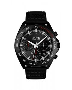BOSS Men's Intensity Quartz Black IP and Leather Strap Casual Watch, Color: Black (Model: 1513662)