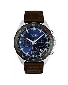 BOSS Intensity, Quartz Stainless Steel and Leather Strap Casual Watch, Brown, Men, 1513663