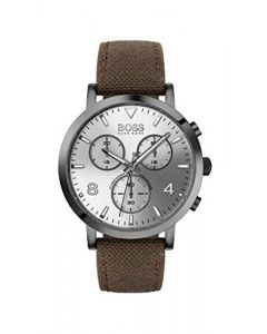 BOSS Men's Spirit Quartz Grey IP and Fabric Strap Casual Watch, Color: Brown (Model: 1513690)