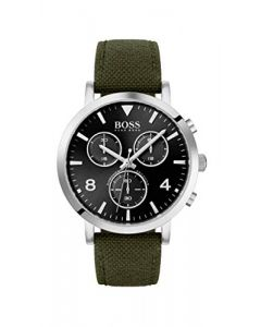 BOSS Spirit, Quartz Stainless Steel and Fabric Strap Casual Watch, Green, Men, 1513692