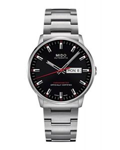 Mido M0214311105100 Commander II Mens Watch - Black Dial Stainless Steel Case Automatic Movement