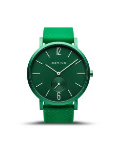 BERING Time Slim Solar Collection Platinum 16940-899 Green Dial Unisex-adult 40-mm Quartz Sapphire crystal. Designed in Denmark Wrist Watch