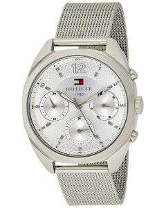 Tommy Hilfiger Mia Multi-Function Stainless-steel 1781628 Silver Dial Mens 44-mm Quartz Mineral crystal. Wrist Watch