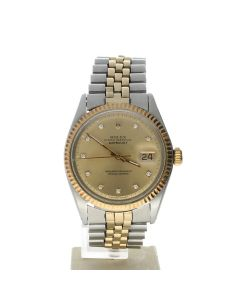 Rolex DateJust 36 Stainless-steel 1601 Champagne Dial Men's 36-mm Automatic-self-wind Sapphire crystal. Swiss Made Wrist Watch