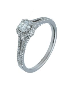 0.80 ct. t.w.t Diamond Halo Ring in 18k White Gold