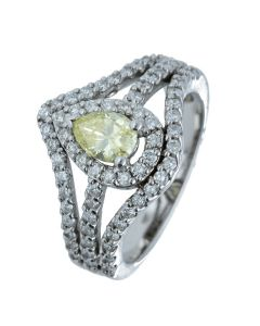 1.25 ct. t.w.t Diamond Fancy Color Ring in 14k White Gold