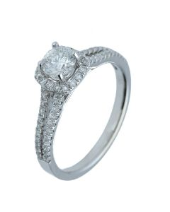 1 ct. t.w.t Diamond Halo Ring in 18k White Gold