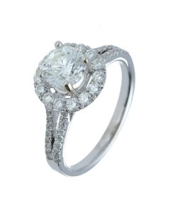1.56 ct. t.w.t Diamond Halo Ring in 18k White Gold
