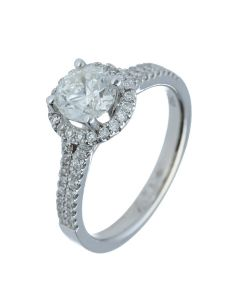 1.31 ct. t.w.t Diamond Halo Ring in 18k White Gold