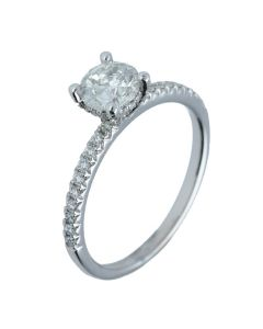 3.55 ct. t.w.t Diamond Side Stone Ring in 18k White Gold