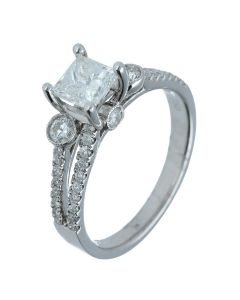 1.28 ct. t.w.t Diamond Side Stone Ring in 18k White Gold