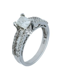 0.91ct. Princess & 0.53ct Baguette & Round Diamond Ring in 18k White Gold.