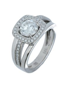 1.71 ct. t.w.t Diamond Halo Ring in 14k White Gold
