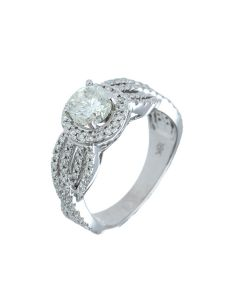 1.55 ct. t.w.t Diamond Halo Ring in 18k White Gold