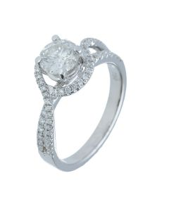 1.27 ct. t.w.t Diamond Halo Ring in 18k White Gold