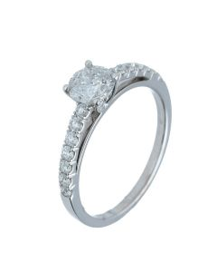 1.02 ct. t.w.t Round Diamond Side Stone Ring in 18k White Gold