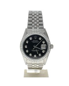 Rolex DateJust 36 Stainless-steel 16030 Black Dial Men's 36-mm Automatic-self-wind Sapphire crystal. Swiss Made Wrist Watch