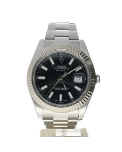 Rolex DateJust 41 Stainless-steel 116334 Black Dial Men's 41-mm Automatic-self-wind Sapphire crystal. Swiss Made Wrist Watch